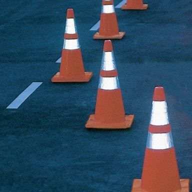 traffic cones indicating lane shift