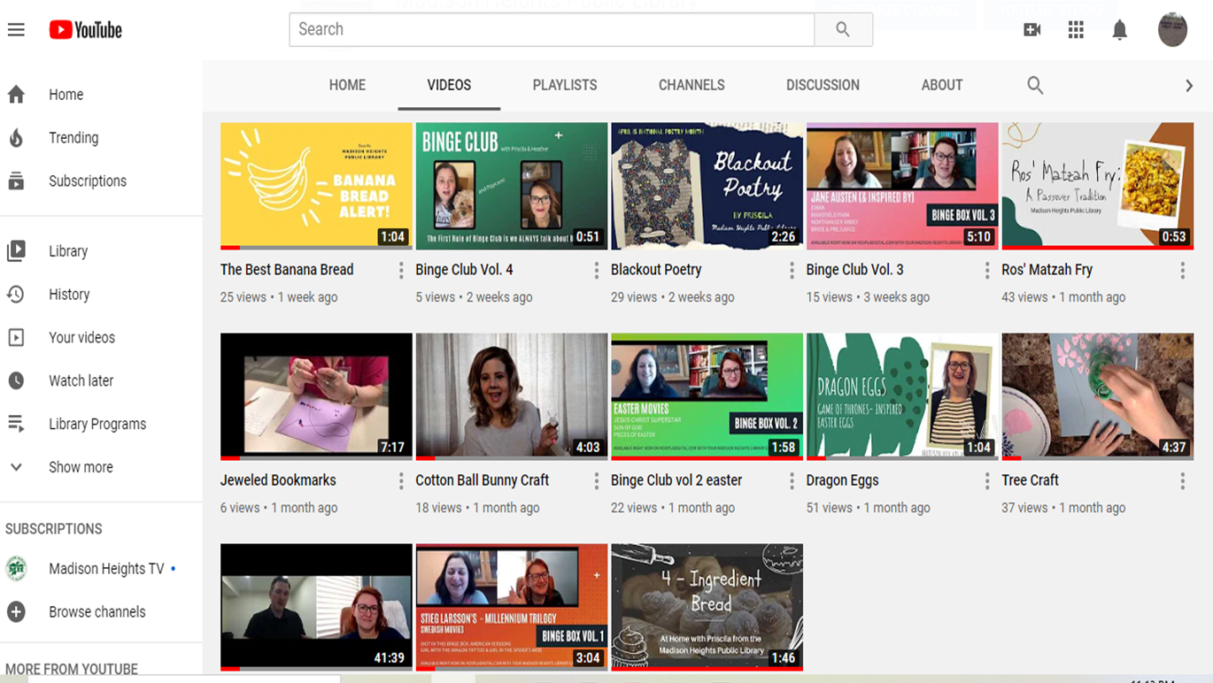 screenshot of library youtube page Opens in new window