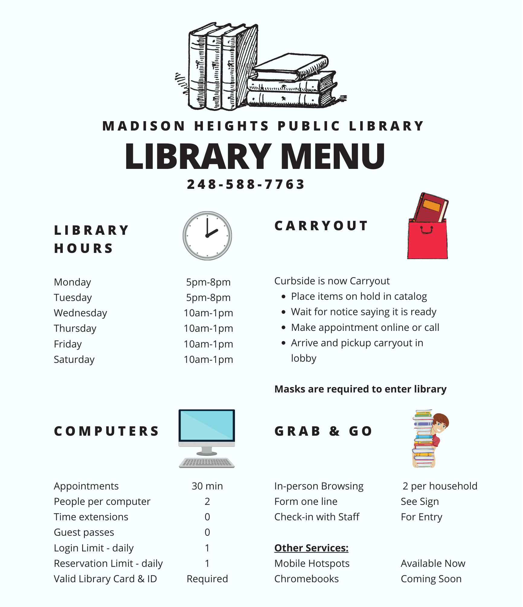 Madison Heights Library Menu of Library Services